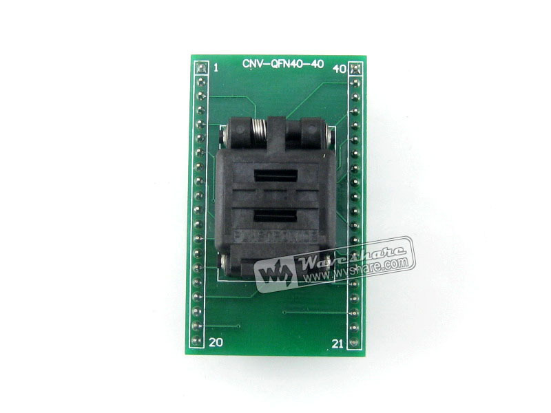 Waveshare QFN40 TO DIP40 IC Test Socket Programming Adapter 0.4mm Pitch for QFN40 MLF40 MLP40 Package free shipping sop32 wide body test seat ots 32 1 27 16 soic32 burn block programming block adapter