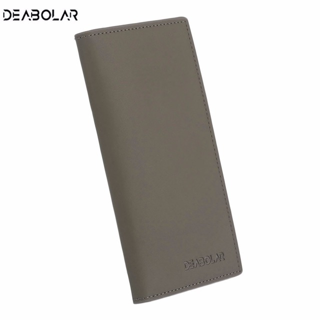 DEABOLAR Unique Men Soft PU Leather Long Wallet Business Solid Color Credit Crad Holders Money Cash Wallet carteira masculina