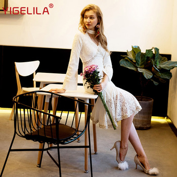 YIGELILA Fashion Women White Lace Long Dress Autumn O-neck Hollow Out Flare Sleeve Solid Empire Slim Mid Length Dress 63212