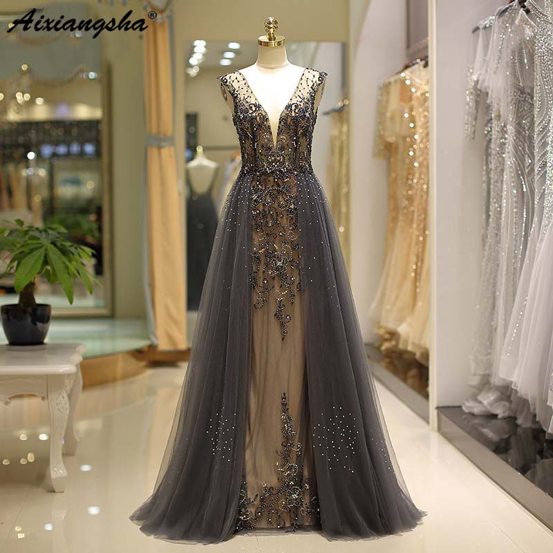 luxury Beading Grey   Evening     dresses   A-Line soft tulle Prom Party   dress   long   Evening   Gown Robe de Soiree Party Gowns
