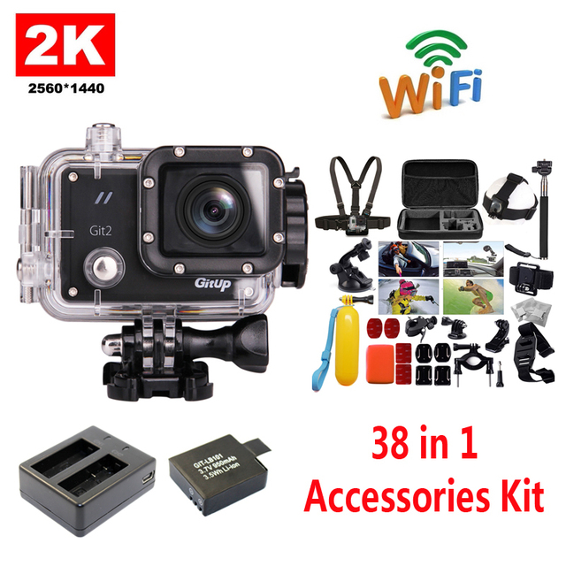 !!GitUp GIT2 2K WiFi Camera 30fps 1080P Sports Action Cam+Extra 1pcs Battery+Battery Charger+38Pcs Accessories Kit