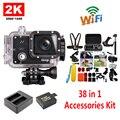 Frete Grátis!! GitUp GIT2 2 K WiFi Camera 30fps 1080 P Esportes de Ação Cam + Extra 1 pcs bateria + Carregador de Bateria + 38 Pcs Kit de Acessórios