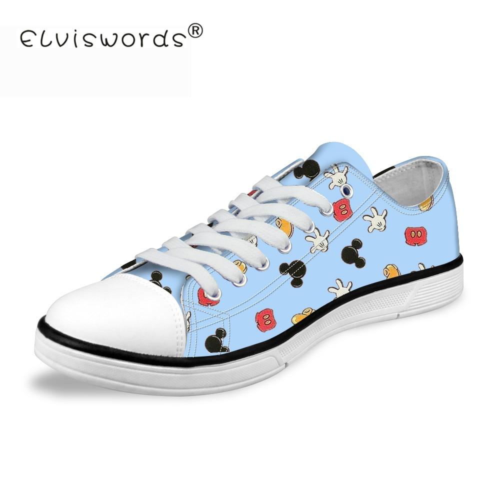 ELVISWORDS Women Cartoon Mickey Vulcanize Shoes Cute Summer Canvas Sneaker Classic Low Top Female Girl Leisure Lace Up Platform