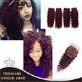 Beautiful peruvian virgin hair wavy red human hair extension 5pcs lot burgundy 99j peruvian deep curly 4 Bundles With Closure
