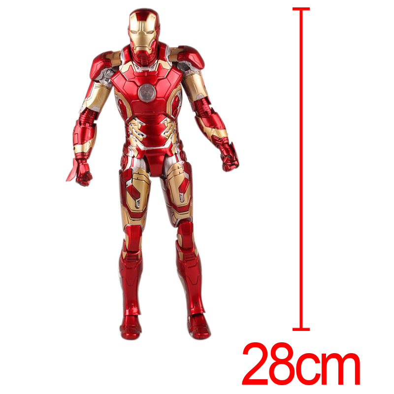 C&F Iron Man Anime Action Figure Toys Super Hero Anthony Edward Stark Tony 28 CM PVC Figures Toys For Gifts 1 6th scale figure accessory iron man headsculpt tony stark head shape for 12 action figure doll not included body and clothes