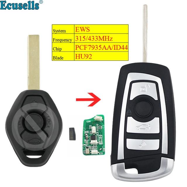 Modified flip 315MHZ 433MHZ ID44/PCF7935 chip 3 Button remote key for BMW EWS 325 330 318 525 530 540 E38 E39 E46 M5 X3 X5 HU92