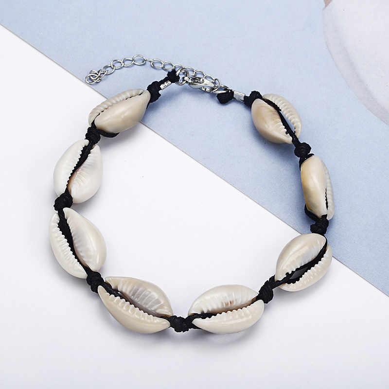 Мода Handmace Natura Sea Shell веревочный браслет на ногу ножной браслет для женщин и мужчин черный богемный босиком цепь звено пляжные украшения