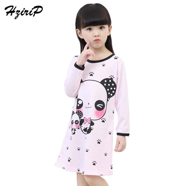 afa14892cd23 Girl Home Clothes 2018 New Autumn Girls Pajama Nightgown Cute Long Sleeves  Children Knitted Cotton Girls Sleepwear 3-12Year old