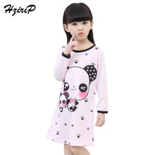 Girl Home Clothes 2018 New Autumn Girls Pajama Nightgown Cute Long Sleeves Children Knitted Cotton Girls Sleepwear 3-12Year old