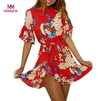 2018 marque vente chaude De Mode Femmes De Courroie De Spaghetti Imprimé floral plage Style Patineur Une Ligne Mini Robe robes casuales de mujer