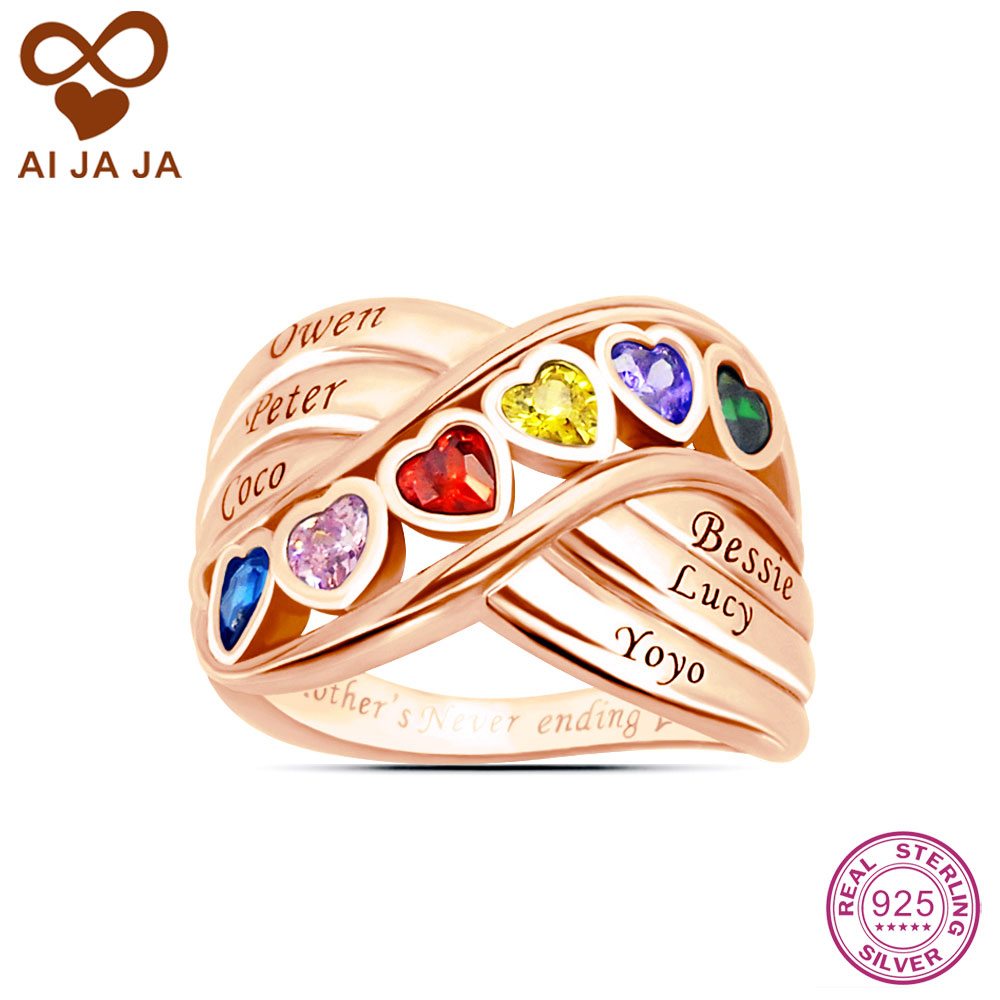 AIJAJA Personalized 925 Sterling Silver Family Heart Stone Mother ...