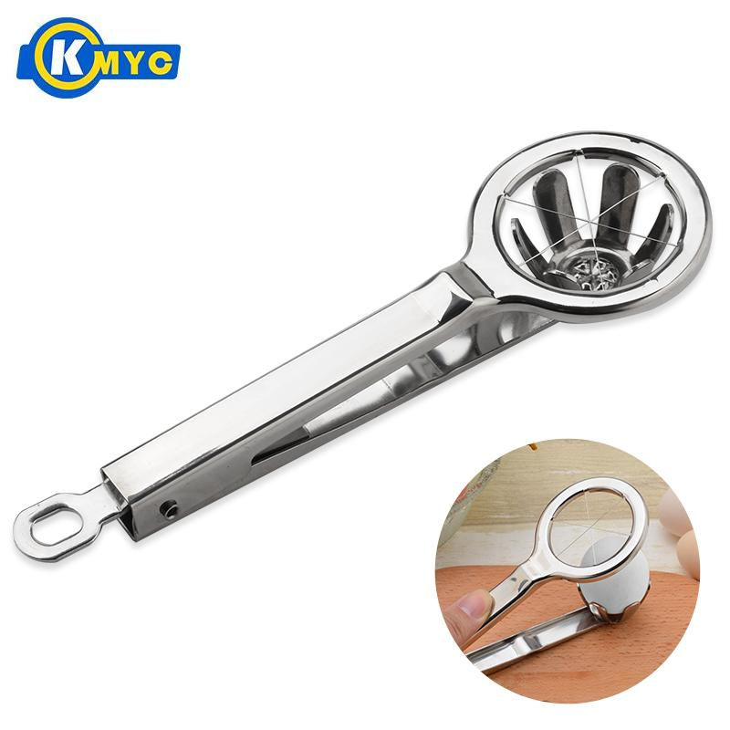 KMYC Stainless Steel Egg Slicer Piercer Boiled Eggs Cutter Clip Cutting Tongs Household Slicing Kiwi Dough Knife Cooking Gadgets ...