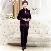 Plus Size Pleuche Fabric 2 Piece Set Women Suit 2017 4XL Thicken Full Sleeve Tops And