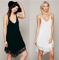Fashion Adjustable Strap Loose Fit V Neck Eyelash Lace Women S Casual Slip Dress