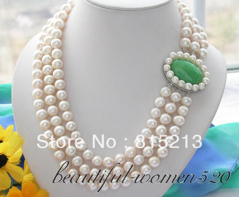 02e2a77571b3 Envío libre  HOT121 3row 9-10mm blanco redondo de agua dulce perla collar  piedra