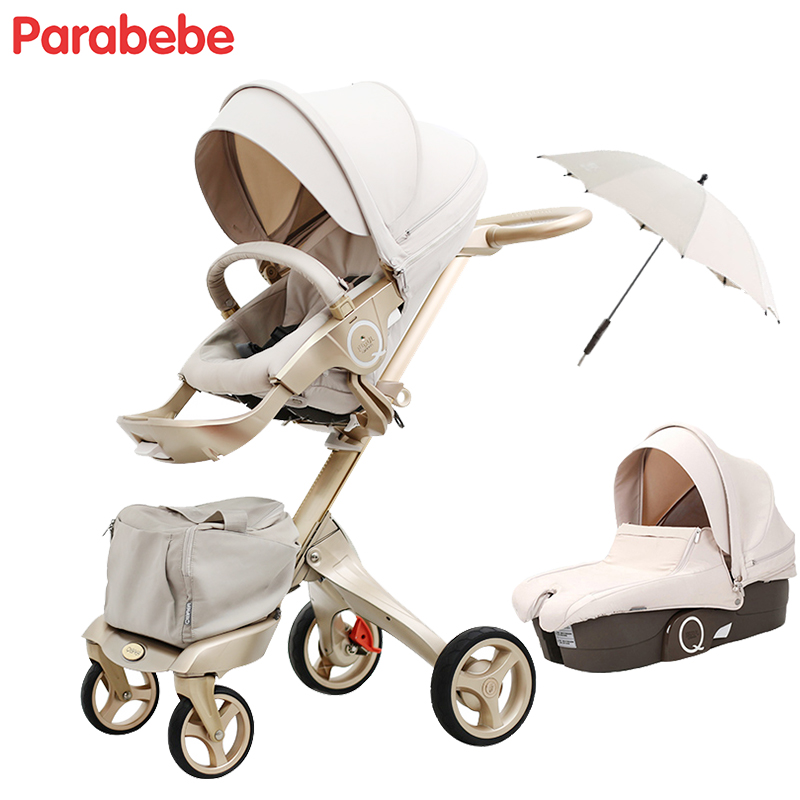 Luxury Baby <font><b>Stroller</b></font> Golden Baby Pram Pushchair Baby Trolley Lightweight <font><b>Stroller</b></font> For Babies Travel System Pram carrinho de bebe
