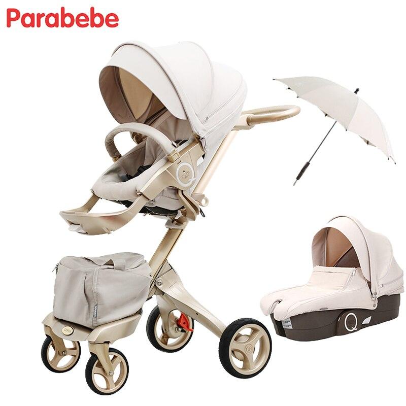 Parabebe Роскошные Детские коляски 15 кг Большие Детские коляски Коляска Золотой коляски для детей детские тележки детские автомобиля carrinho de bebe