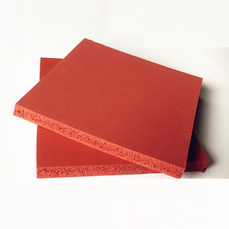 Silicone Foam Sponge Plate Sheet Board Heat Insulation Blanket Strip Square 500 x 500 x 8mm Red