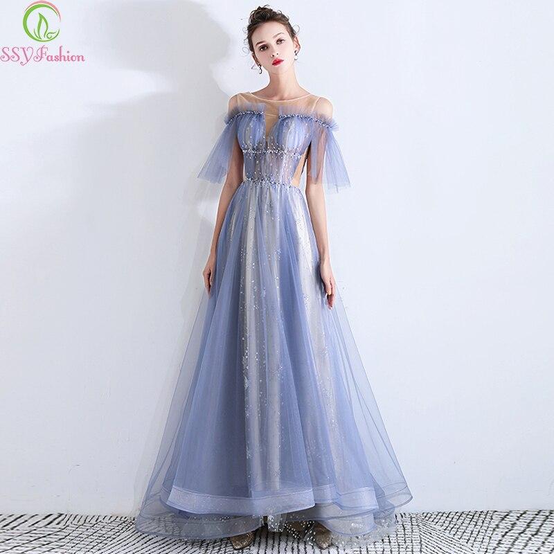 SSYFashion New Banquet Elegant Evening Dress Romantic Grey Blue Tulle Beading Floor-length Party Formal Gowns Vestido De Noche