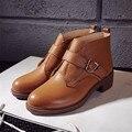 2016 Novas Botas Curtas De Couro Genuíno Clássico das mulheres Tornozelo Martin Botas sapatos Das Mulheres Botas De Moda Da Motocicleta das mulheres Sapatos