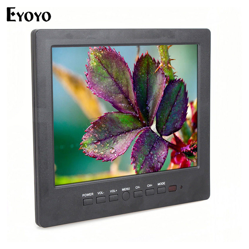 Eyoyo L8009 Portable 8 inch TFT LCD HD Monitor Color TV AV RCA VGA Input Display For PC CCTV Camera eyoyo nts200 endoscope inspection camera with 3 5 inch lcd monitor 8 2mm diameter 2 meters tube borescope zoom rotate flip