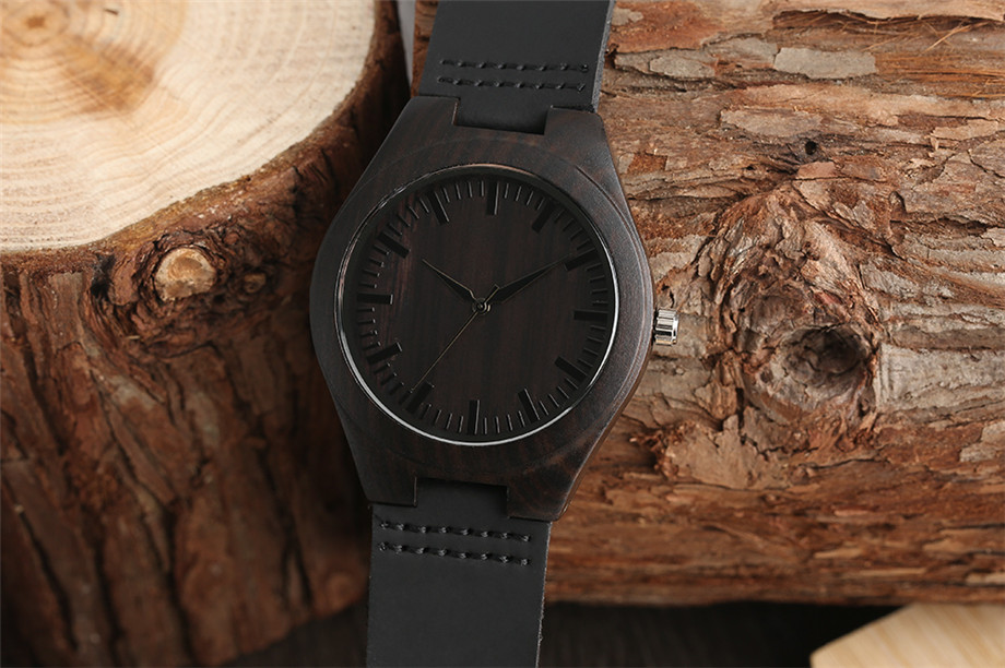 hot sellings wooden watch  Trendy Full Black Males's Ebony Wooden Watch Quartz Hand-made Bamboo hombre Wristwatch with Real Leather-based Watchband Present for Males HTB1G0B3ieKAUKJjSZFzq6xdQFXaB