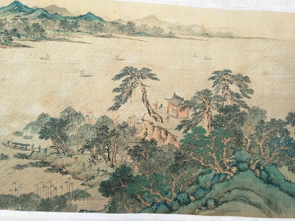 Peintures chinoises peintes à la main, image du long axe de la dynastie Qing en chine, paysage chinois, 10.5 m (long) - 1