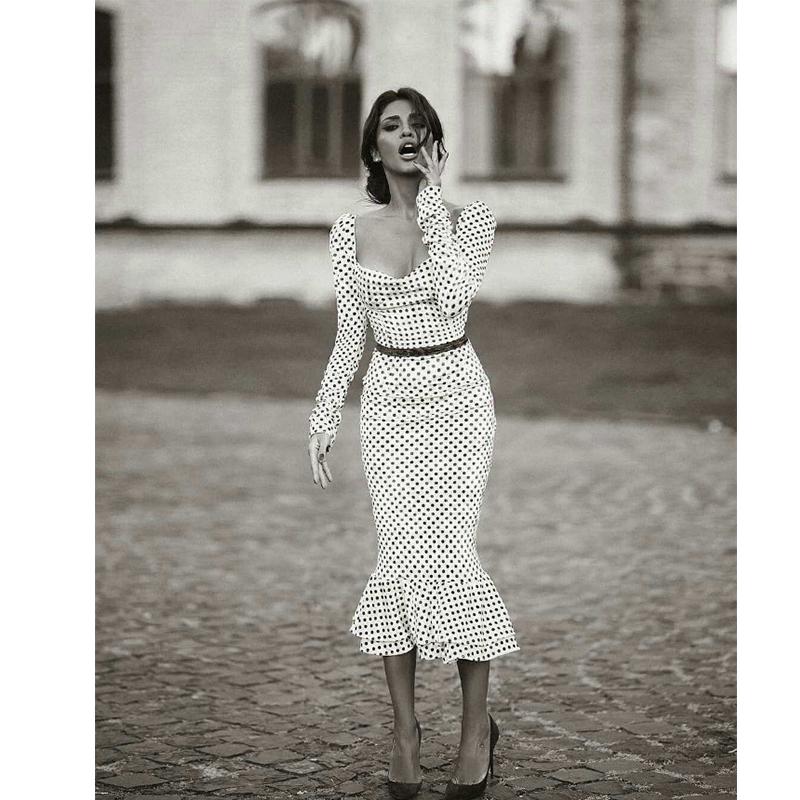 Elegant White Knotted Strap Polka dot Mermaid Hem Summer Pencil Midi Dress Women Slim Bodycon Office Lady Ruffle Dresses