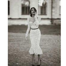 Elegant White Knotted Strap Polka-dot Mermaid Hem Summer Pencil Midi Dress Women Slim Bodycon Office Lady Ruffle Dresses