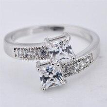 Cute Female Small Zircon Stone Ring Fashion Jewelry Silver C