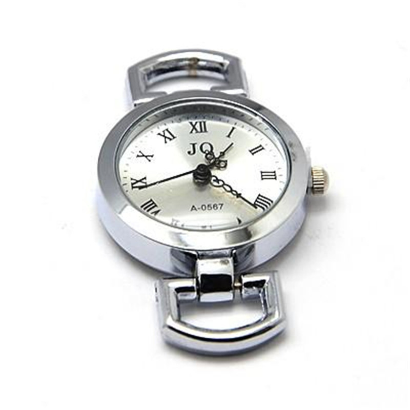 Alloy Watch Face Flat Round Watch Head Watch Components For DIY, Platinum, 28~29x26x9mm, Hole: 10x5mm