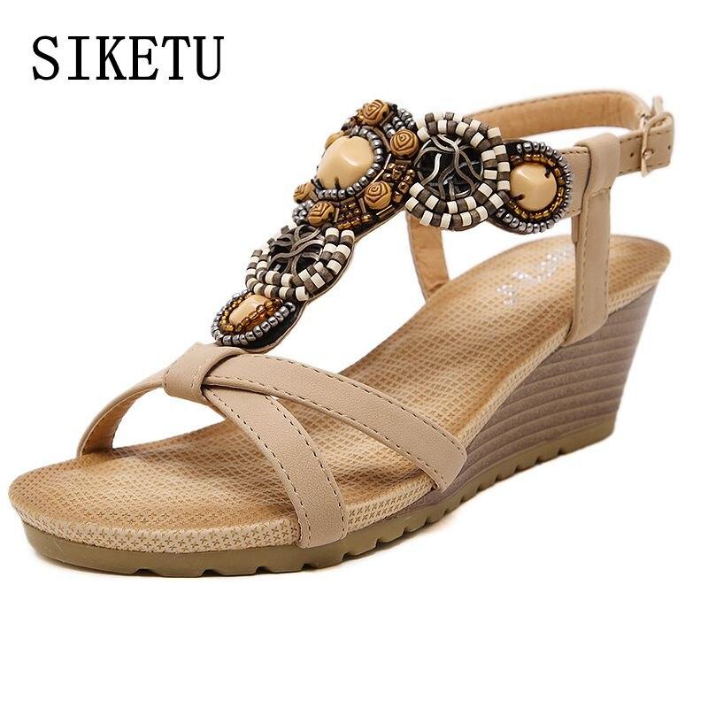 SIKETU קיץ אופנה חדשה לנשים חרוזים בוהמי סנדלים מקרית נוח אבזם מדרון סנדלי אישה סנדלי גודל גדולים 39 40