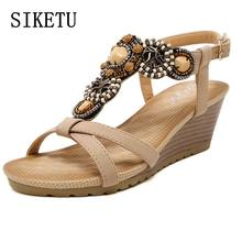 SIKETU Summer new fashion women sandals bohemian beaded casual comfortable buckle slope woman sandals large size sandals 39 40(China)
