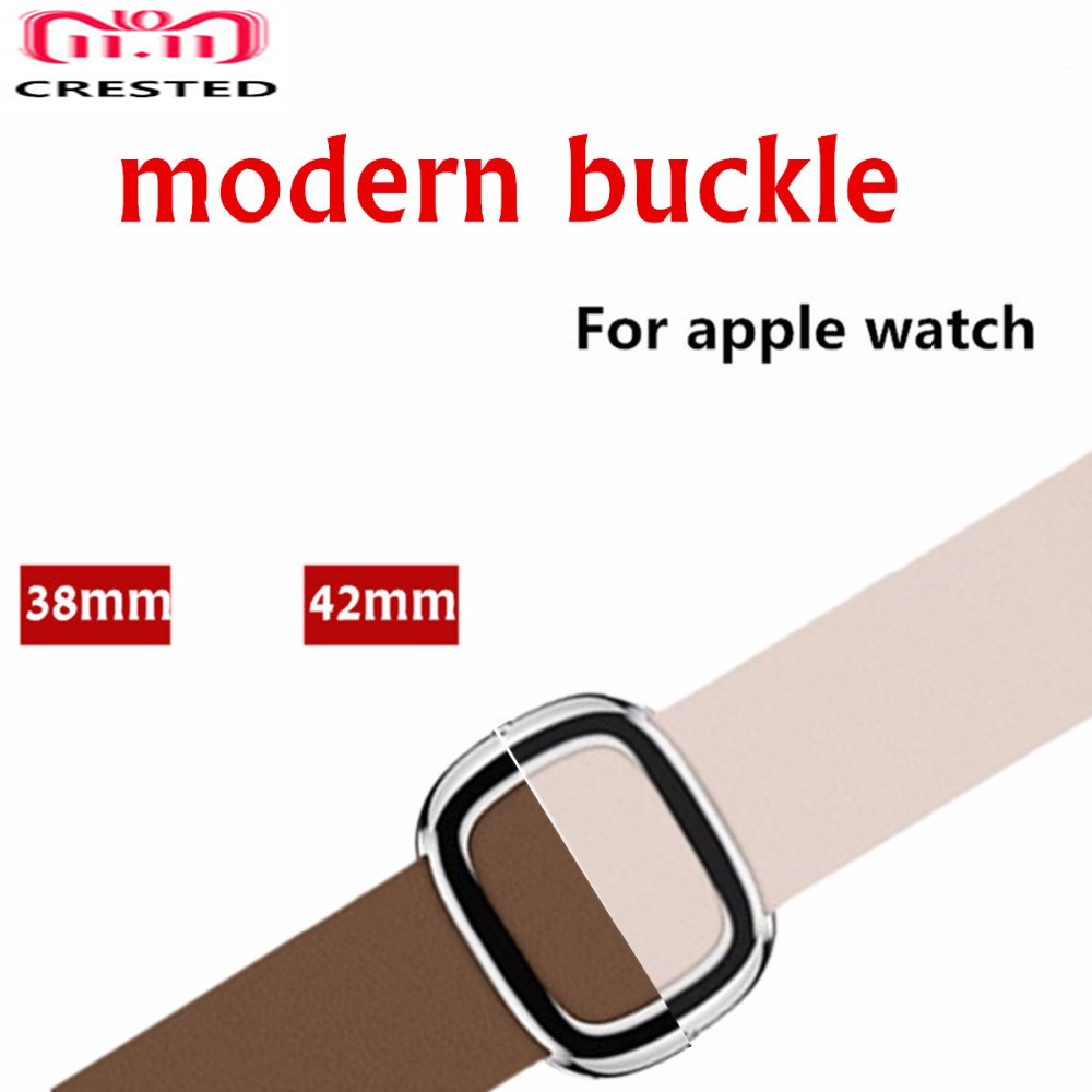 CRESTED Leather Modern buckle strap For Apple Watch 4 band 44mm/40mm iwatch series 3/2/1 42mm/38mm wrist bracelet watchband belt leather for apple watch band 38mm 42mm butterfly buckle strap iwatch series 4 3 2 1 watchband replacement accessories wrist belt