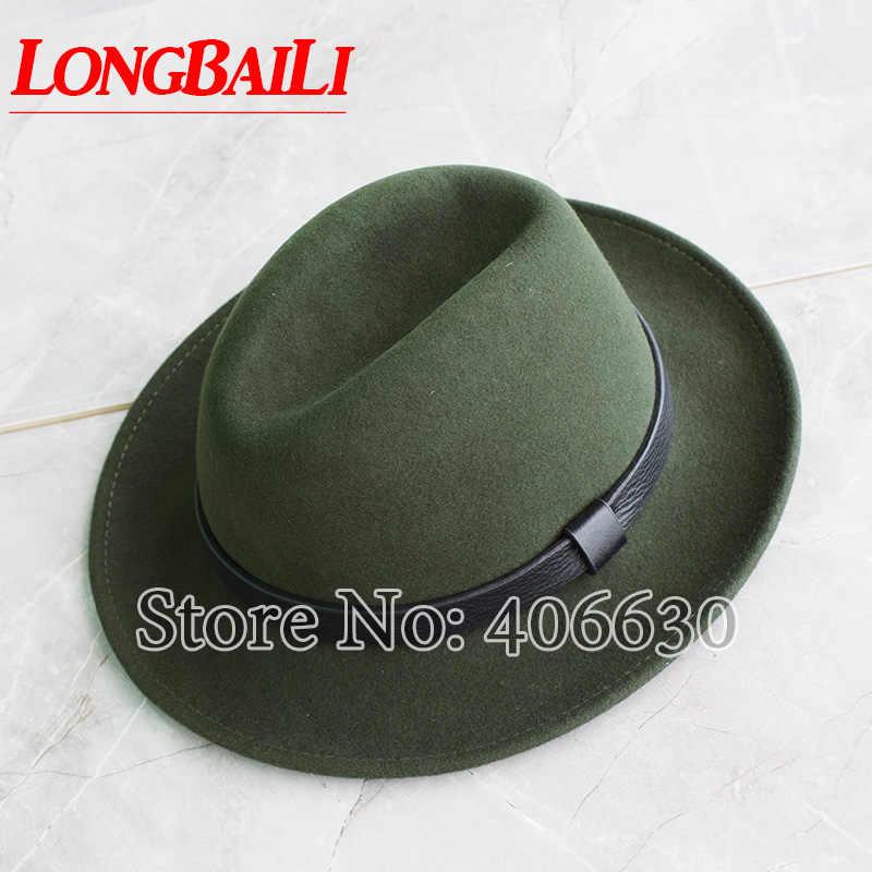 Invierno de ala ancha de los hombres sombreros de fieltro de lana de cuero  Real Banda 8c1189c2262