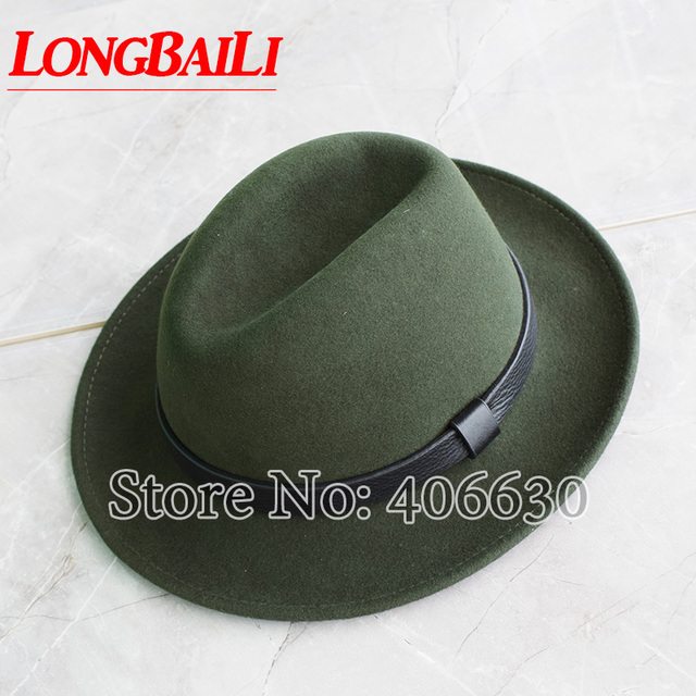 92348bf4fa9 Winter Wide Brim Men s Wool Felt Hats Real Leather Band Fedoras Army Green  Color Chapeu Free