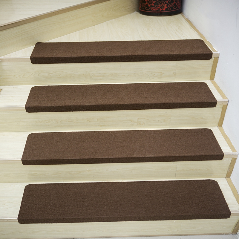 5pcs Solid Color Stair Carpet Sets Slip Resistance Stair Brown Mats Step Rectangle Rugs Safe Treads Soft Carpets For Kids Family