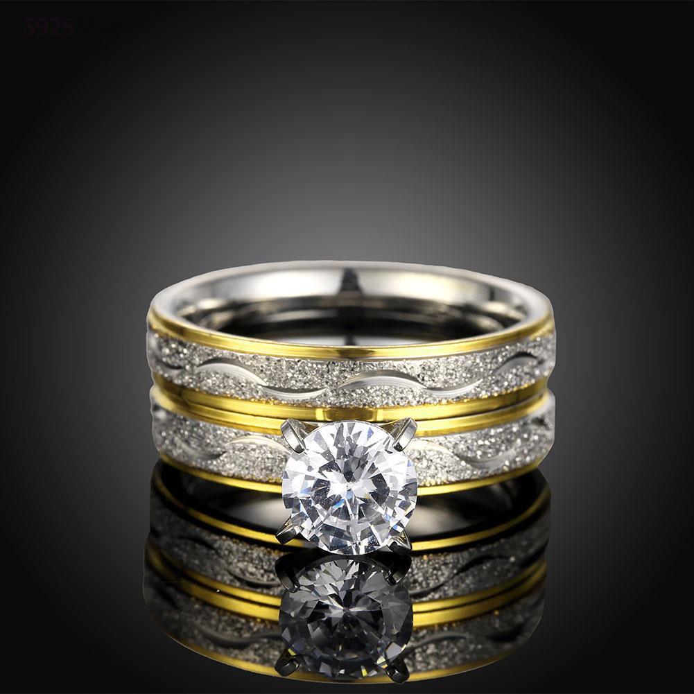 Vintage Fashion indah pola baja titanium cincin warna emas trendy - Perhiasan fashion - Foto 6