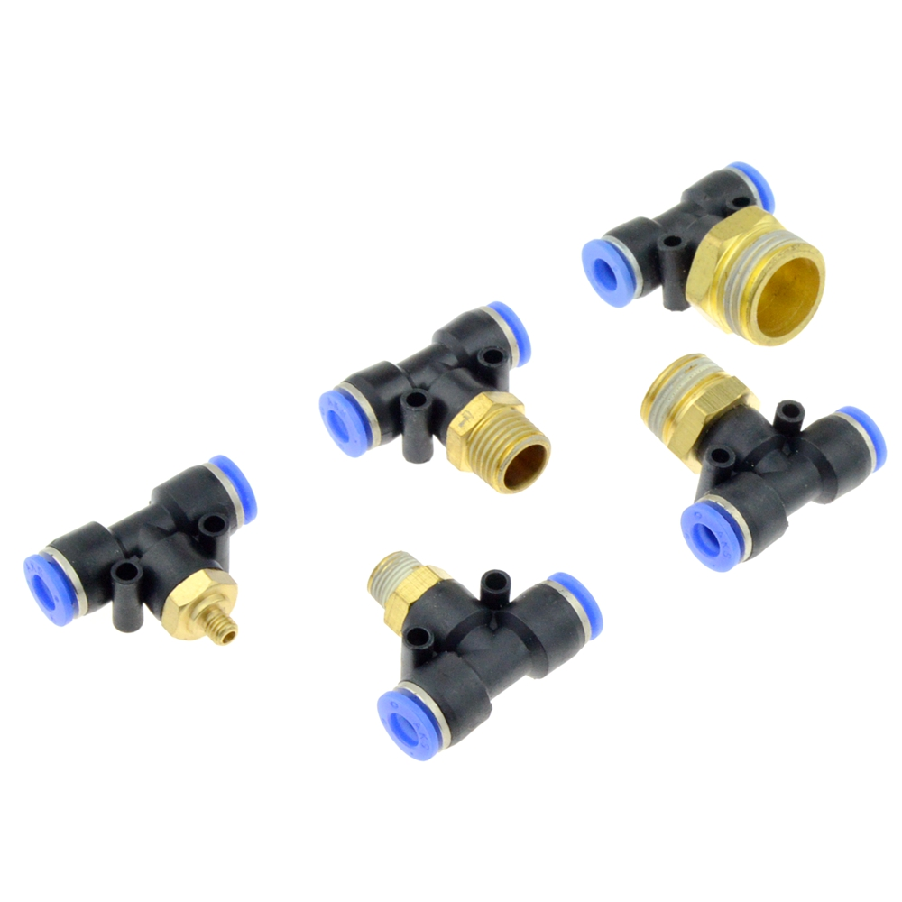 Air Connector Fitting T Shape Tee 6mm 8mm 10mm 12mm 4mm Hose Pipe to 1/8 1/4 M5 3/8 1/2 BSPT Male Thread Pneumatic Coupler pneumatic fitting y shaped 6mm od hose tube m5 1 8 1 4 3 8 1 2 bsp male thread 3way tee air coupler connector fittings