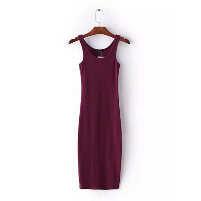 f0da435d6f684 US $7.88 |Prevalent New Sexy O Neck Stretch Midi Dress Women Brandy  Melville Vintage Package Hips Long Tank Dresses 4 Colors-in Nightgowns & ...