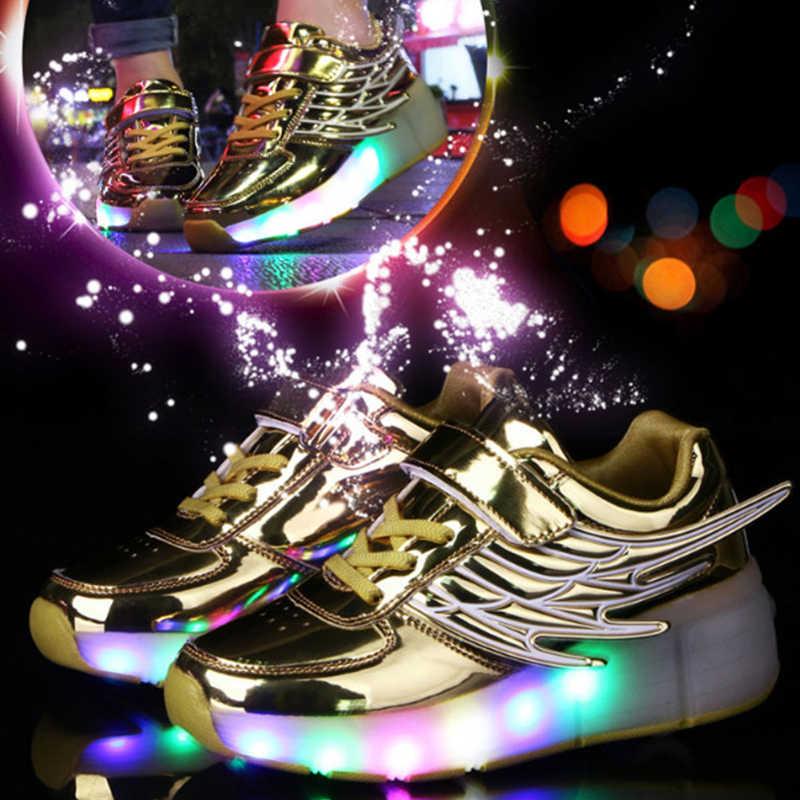 אופנה בני נעלי 2019 סניקרס הזוהר ילדים Led אור עד נעלי עם גלגלי רולר סקייט זוהר סניקרס בנות ילדים
