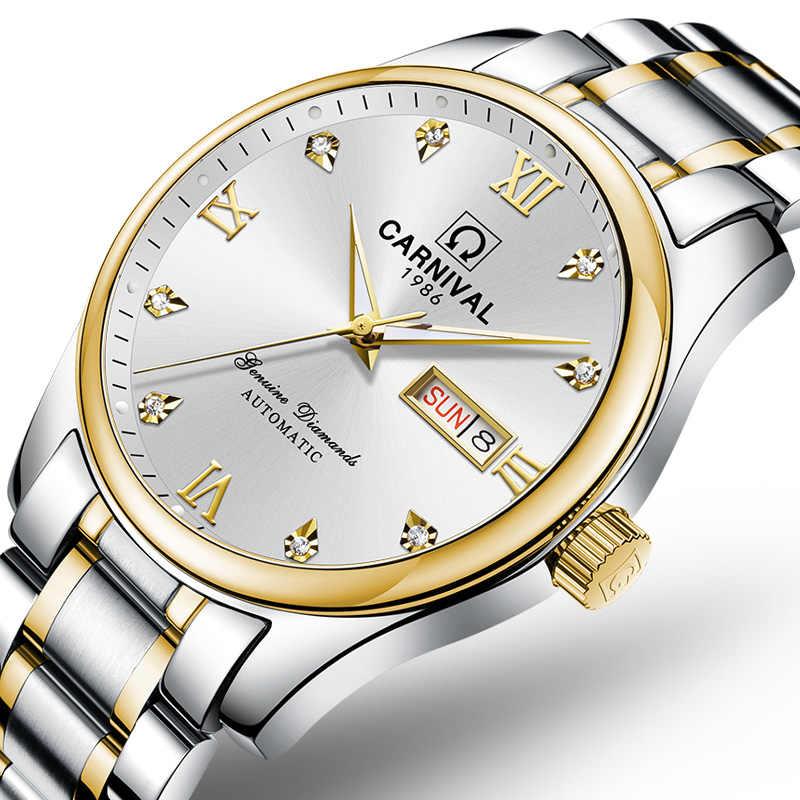 İsviçre lüks erkek saati karnaval marka saatler erkekler otomatik mekanik reloj hombre aydınlık saat safir C-8612G-2