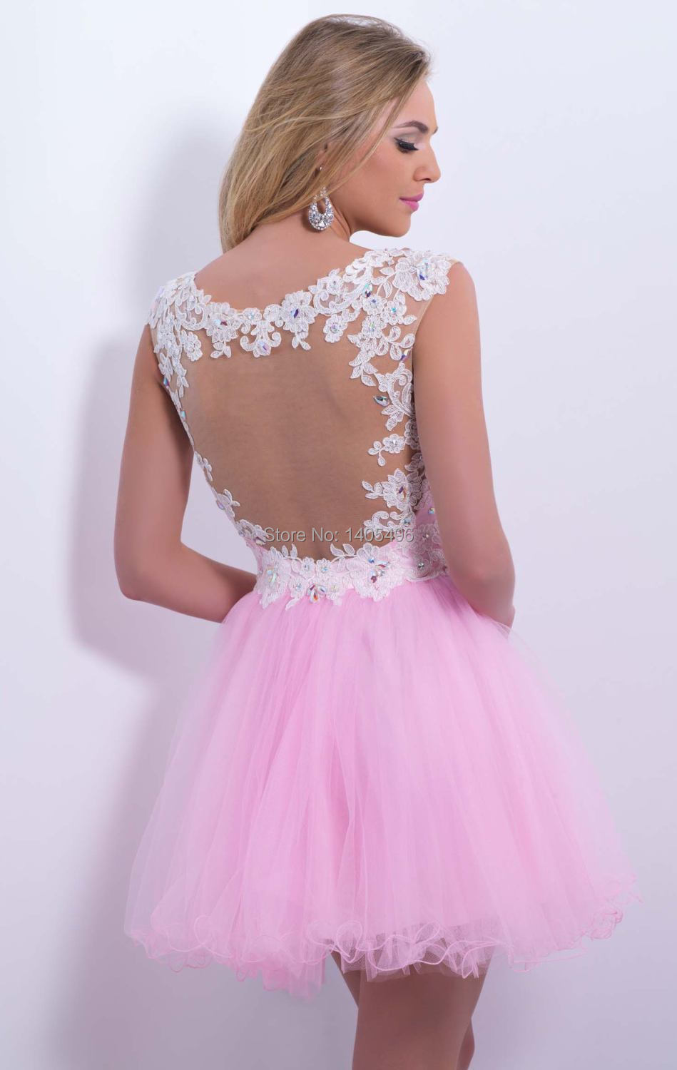 2014 Pink Short Homecoming Dresses Sheer Strap Vestidos De Fiesta ...