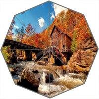 Custom Autumn Style 1 Personalized Portable Triple Foldable Sun And Rain Umbrella Decorative Umbrellas SQ00826 H0128