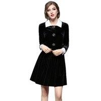 Runway 2017 Autumn Winter Dresses Women Velvet Dresses Long Sleeve Turn Down Collar Button Party Dresses