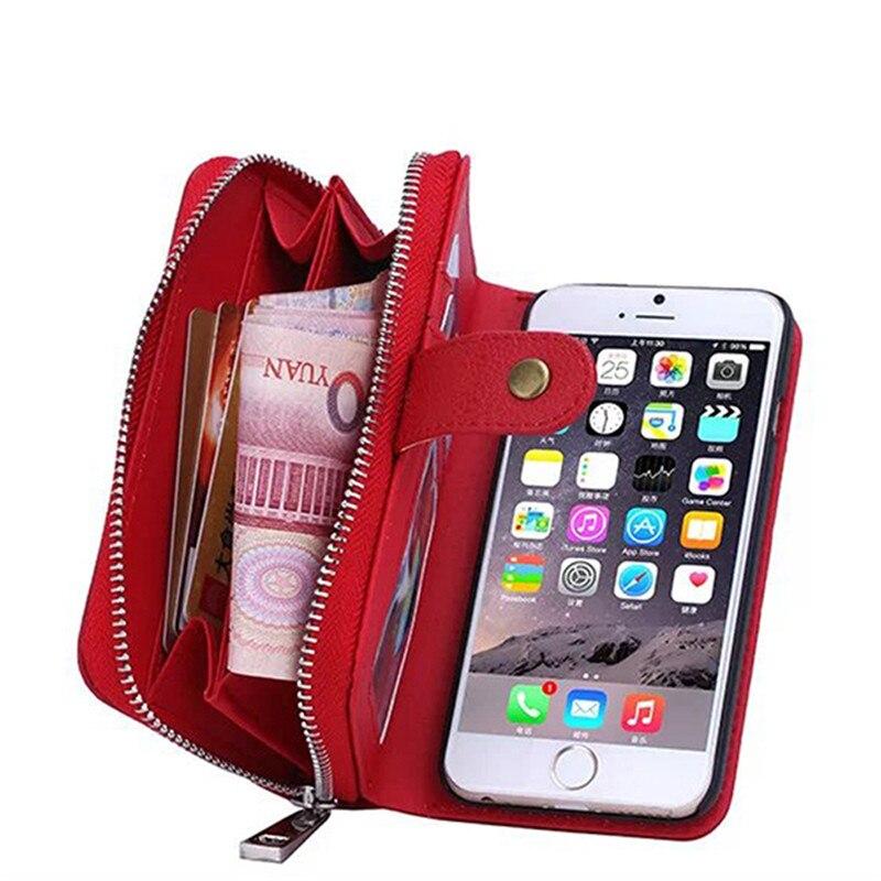 bilder für Für iphone 6 6s case pu leder reißverschluss dame handtasche karte slot wallet ständer multifunktionale telefon case abdeckung für iphone 6 6s tasche