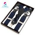 NBD9110 azul Marinho 3 clips partido elástica suspensórios, botão suspensórios de couro genuíno Dual-uso para o homem 6 cores frete grátis