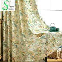 Slow Soul Green yaochi Modern Fresh Garden Printing Fabric Curtain Curtains Scenic Cortina For Living Room Kitchen Roman Bedroom(China)