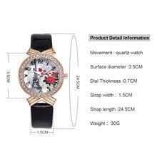 e8d039ee450 Senhoras Relógio Paris Torre Rose Digital Dial Caso relógio de Pulso de  Quartzo-relógio com