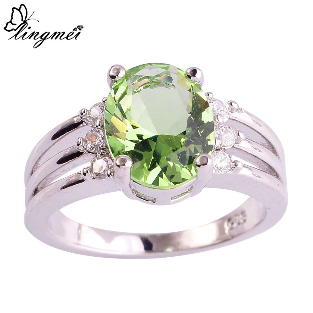 lingmei Wholesale Green Purple & White CZ Silver Color Ring Size 6 7 8 9 10 Fashion Women Facile Design European Jewelry